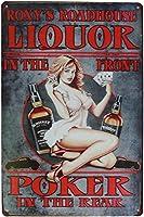 背面のフロントポーカーのピンナップガール酒、ビンテージメタルサイン