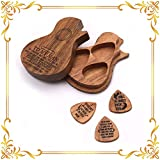 XTD Caja de púas de madera personalizada para guitarra con forma de guitarra con 3 púas para guitarra estándar A