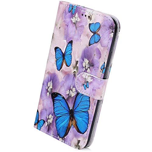 Herbests Kompatibel mit Huawei P40 Pro Handyhülle Leder Hülle Bunt Motiv Muster Leder Flip Schutzhülle Tasche Wallet Case Kartenfach Standfunktion Magnetverschluss,Blau Schmetterling