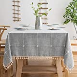 Oubonun Rustic Lattice Tablecloth (55'x70') Cotton Linen Grey Rectangle Table Cloths for Kitchen Dining, Party, Holiday, Christmas, Buffet