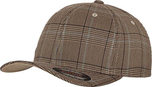 Flexfit Damen und Herren Baseball Caps Glen Check Cap, Brown/Khaki, S/M