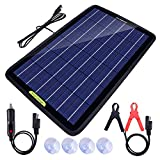 ECO-Worthy 12 Volt 10 Watt Solar Battery Charger & Maintainer, Solar Panel Trickle Charger, Portable Power Backup Kit with Alligator Clip Adapter for Car, Boat, Automotive, Motorcycle, RV