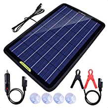 ECO-WORTHY 12 Volt 10 Watt Solar Car Battery Charger & Maintainer, Solar Panel Trickle Charger, Portable Power Backup Kit with Alligator Clip Adapter for Car, Boat, Automotive, Motorcycle, RV