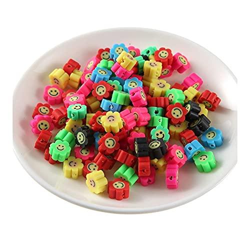 Jinggege - Perline in argilla polimerica, motivo floreale, con fiori di argilla e frutta, 50 pezzi, per creare gioielli fai da te (colore 10)
