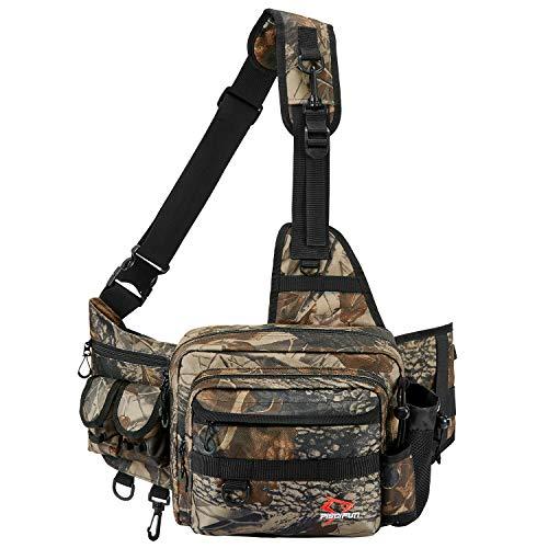 Piscifun Sling Fishing Tackle Bag, Outdoor Fishing Storage Pack, Water-Resistant Fishing Bag Cross Body Sling Bag Camouflage