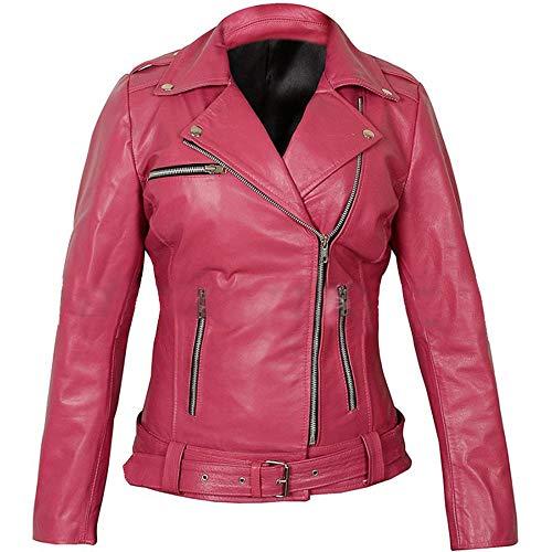 LP-FACON The Walking Dead Negan Brando - Chaqueta de piel con cinturón para motociclista, color rosa