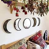 BSTQC 5 Piezas de Espejos de Fase Lunar de acrílico Natural para decoración del hogar, diseño Interior de Madera con Fase Lunar, Espejo Bohemio para decoración de Pared