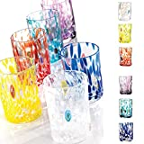 MURRINO VENEZIANO 1878 - Set 6 bicchieri Acqua Vetro Colorato soffiato, Murrine Originali Veneziane, Made in Italy, ( confezione mix 6 colorazioni )