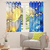 Cortinas de mármol líquido, modernas cortinas de ventana de color azul dorado, abstractas con tinta de mármol, para decoración de habitación, 46 x 54 cm