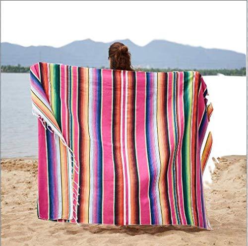 MYQG Toalla de Playa Ethnic Rainbow Rayas Toalla De Playa Bohemia Mexicana Navajo Manta Multifuncional Baño Toalla/Mantel 150x200cm Azul