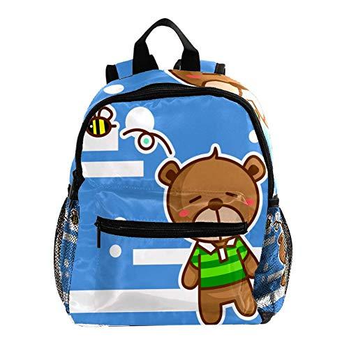 Toddler Mochila Escolar Oso de Dibujos Animados marrón Cosyres Mochila para Niños Guarderia Niño Mochila Escolar Infantil Bebe 25.4x10x30 CM