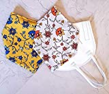 Überzug Cover für Masken Mundschutz Verschönerung Frühling Blumen Baumwolle Stoff Maskenüberzug Abdeckung waschbar Handarbeit in zwei Farben gelb beige