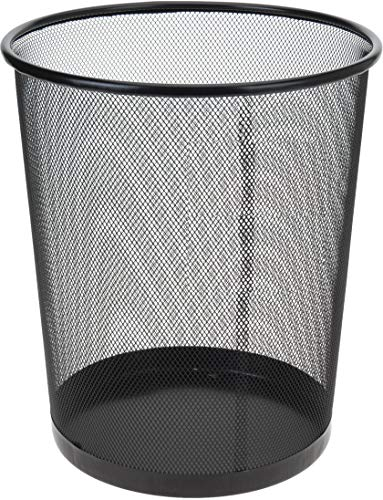 Papierkorb Metall 35 cm schwarz hoch Papiereimer fürs Büro Abfalleimer Runder Mülleimer 20 Liter, Draht, 30 cm Ø oben