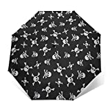 Compact Umbrella Windproof, Travel Umbrella, Lightweight Automatic Umbrellas with UV Protection (Skull And Crossbones)