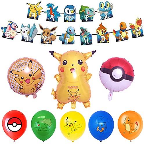 Babioms Pokemon Pikachu globos de papel de aluminio de dibujos animados, globos de decoración de fiesta de cumpleaños, decoración de fiesta de cumpleaños de bebé (26 piezas)