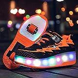 Pattini a rotelle, classici pattini a rotelle, scarpe da ginnastica con luce a LED a doppia ruota, pattini per bambini, ragazzi, ragazze e donne (colore : arancione, Taglia : 4.5 UK/38 EU)