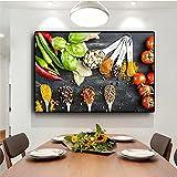 Verduras, granos, especias, cuchara, cocina, comida, lienzo, pintura, Cuadros, carteles e impresiones, cuadro artístico de pared, sala de estar, decoración del hogar 20x30 CM (sin marco)