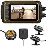 YDI Dash Cam Videocamera Impermeabile per Moto, 3'' LCD Doppia Lente Impermeabile FHD 1080P...