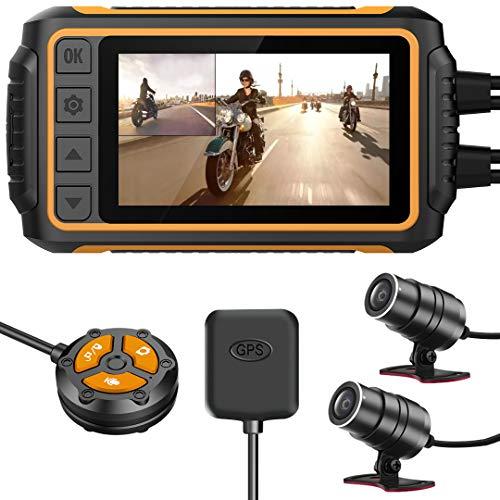 YDI Wasserdichte Motorrad Dashcam, Dual FHD 1080P Wasserdichtes Objektiv Weitwinkel Vorne und Hinten 150° mit WiFi, Kabelfernbedienung, GPS, WDR und G-Sensor, Maximale Unterstützung 256GB