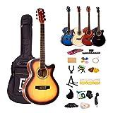 アコースティックギター 初心者セット カッタウェイ(Cut-Away)タイプ 入門練習ギター 17点セット 40インチ