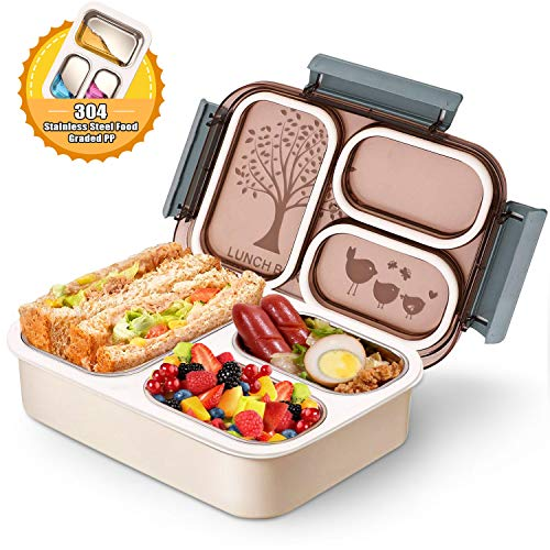 Pedeco Stainless Steel Divided Lunch Box Leakproof BPA Free Metal Bento Box with 3 Compartments Lunch Containers for Adults