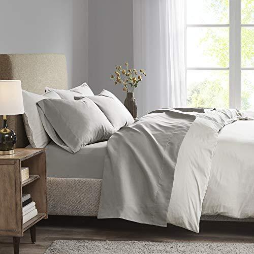 Madison Park 3M Microcell farbecht, Knitter- & fleckenresistent, weiche Bettlaken mit 40,6 cm tiefer Tasche, für alle Jahreszeiten, gemütliches Bettwäsche-Set, entsprechender Kissenbezug, Twin XL, Grau