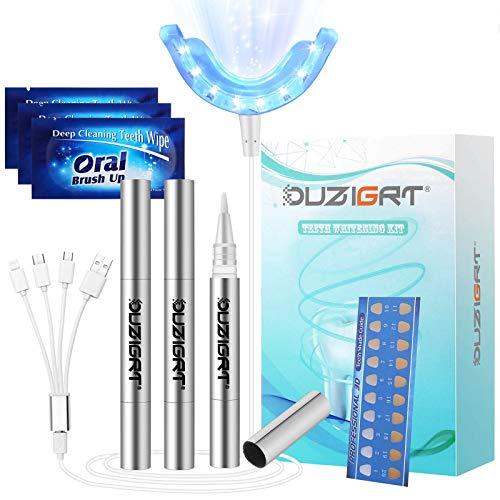 OUZIGRT Zahnaufhellung, Hochwertige Teeth Whitening Kit mit LED Blaulicht und 3 Aluminiumgehäuse Bleaching Gel für Bleaching Zähne & Weiße Zähne zu Hause