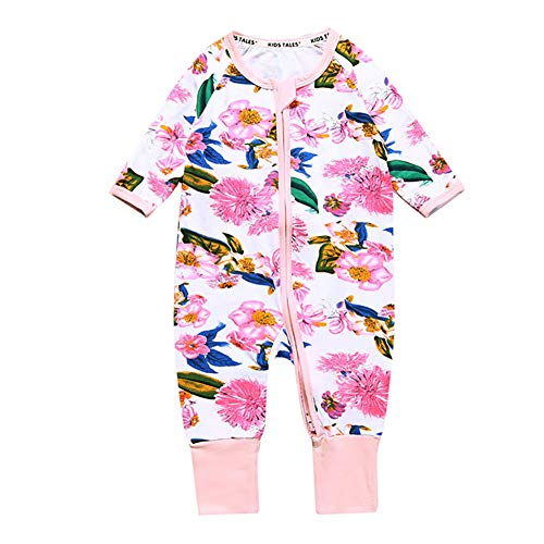 Metermall Home Baby Lovely Pink Flower Printing Jumpsuits Stijlvolle rits Zachte katoenen rompertjes