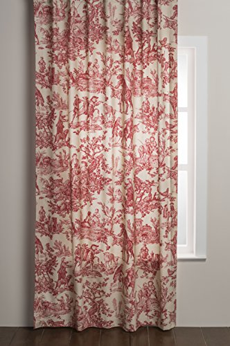 Maison d' Hermine The Miller 100% Cotton Curtain One Panel for Living Rooms Bedrooms Offices Tailored with a Rod Pocket and Loop for Easy Hanging (Red, 50 Inch by 108 Inch ).