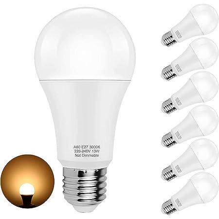Ampoules LED E27 Lampe, Blanc Chaud 3000K, Ampoule Globe A60 Culot E27, 13W équivalent 100W, Angle du faisceau 360°, Pack de 6 [Classe énergétique A+]