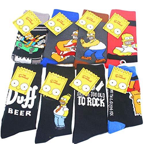 Jintong 8 Pairs Lustige Paar Baumwollsocken Simpson Familie Neuheit Nette Socken Tier Glücklich Kausalen Hip Hop Streetwear Socken