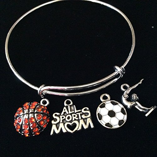 All Sports Mom Expandable Charm Bracelet Crystal Basketball White and Black Soccer Ball and Gymnast Bangle