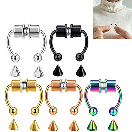 LUDAXUE Magnetic Septum Nose Ring Alloy Fake Magnetic Horseshoe Non Piercing Hoop 5PCS Fake Nose Ring Hoop Magnetic Horseshoe Rings Non Piercing Clip On Nose Hoop Rings for Women