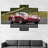 IIIUHU Cuadro en Lienzo 1964 Ferrar 250 GTO Coche Deportivo 150x80cm - XXL Impresión Material Tejido no Tejido Artística Imagen Gráfica Decoracion de Pared - 5 Piezas - Listo para Colgar