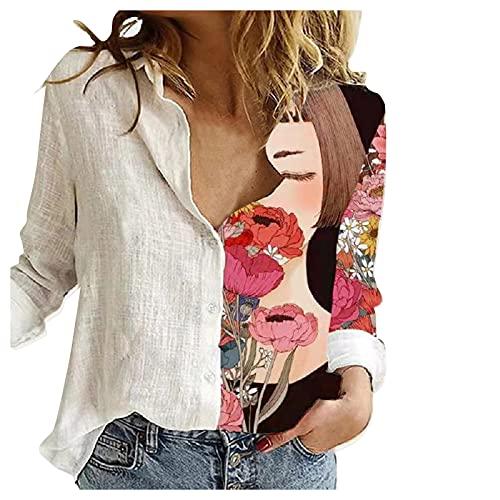 K2633 - Sudadera de manga larga para mujer, estilo casual, talla grande, cuello cuadrado, con botones sueltos, túnica, informal, para otoño, estilo túnica, Blanco-3, XL