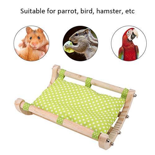 HEEPDD Hamster Schaukel Bett, Maus aus Holz Baumwolle wärmendes Nest kleines Haustier Aktivität Spielzeug Spielen Brücke für Hamster Eichhörnchen Frettchen Chinchilla Guinea Rattenmäuse (Grün)