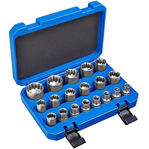 TecTake Juego de llaves tubulares Gear Lock 19 piezas | Adecuado para anchos de llave métricos + pulgada e torx | incl. Maletín