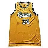 Maillot clásico, 34# Chaleco de Baloncesto Allen Maillot Retro Swingman Jersey Maillot de Baloncesto Urbano Chaleco Deportivo Talla S-XXL-Yellow-L