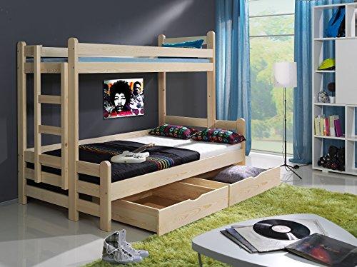 FurnitureByJDM - Triple stapelbed - BEN - Massief, natuurlijk grenen hout met matrassen en opberglades - (Natuurlijk grenen hout)