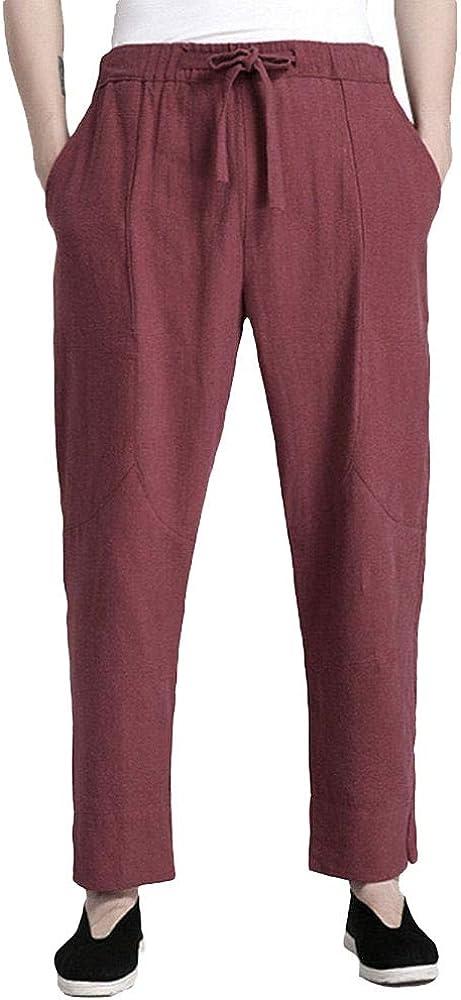 ZooBoo Mens Martial Arts Pants Kung Fu Linen Trousers Tang Suit Pants
