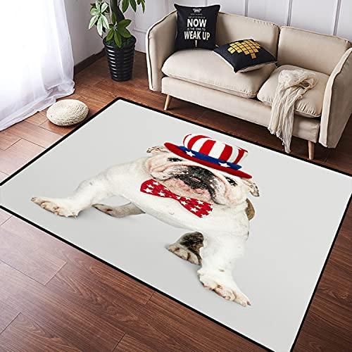 VINISATH Alfombra Salon Granpelo Corto Lindo Cachorro Bulldog Inglés Blanco con Sombrero tío Sam y Pajarita Suave Antideslizante Alfombras Dormitorio Modernas Sala Habitación Infantil 120x160cm