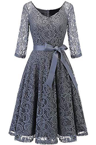 MisShow 1956s Damenkleider Sommerkleider Spitzenkleider Ballkleider Grau Knielang Gr.2XL