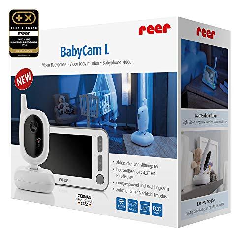reer 80430 BabyCam Video Babyphone L, 300m Reichweite, 50 Grad Weitwinkel-Kamera, 4,3″ TFT Display, mit Bewegungs-Alarm, weiß - 2