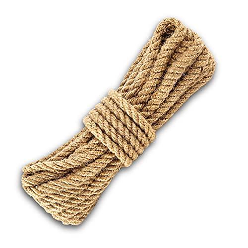 Cuerda de yute 10mm 10 metros cuerda de cañamo 10mm 10 metros. cuerda de cáñamo de 10mm de grosor y 10 metros de largo, ideal para atar tomateras, tendedero ropa, decoración, etc(10mm x 10m)