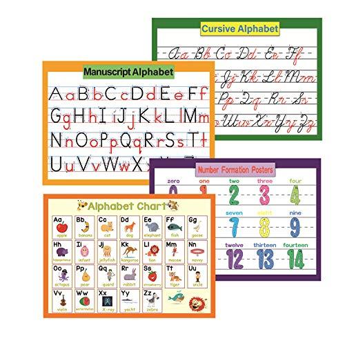 4 Stück pädagogische Vorschulplakate für Kleinkinder und Kinder   Klassenzimmer Bulletin Board Set & Dekorationen Organisation Lernposter für den Kindergarten   Word Family Wandplakat 8.47x11.8in