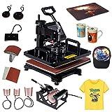 Máquina de prensado térmico 8 en 1, máquina de sublimación de transferencia LED digital de 1200 ', para imprimir camiseta / sombrero / taza / plato / gorra,temporizador LCD dual, giro de 360...