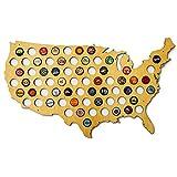 USA Beer Cap Map - Glossy Wood Bottle Cap Holder - Skyline Workshop by Skyline Workshop