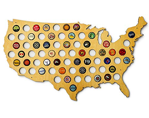USA Beer Cap Map - Skyline Workshop - beautiful maple wood - Beer Cap Holder - great Father's Day gift!