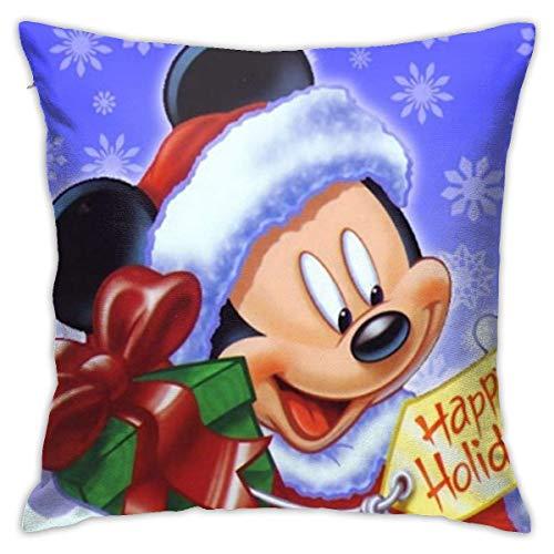 WH-CLA Almohada Cubierta Mic-Key Felices Vacaciones-Navidad Fundas De Almohada Exquisito Funda Decorativa para Cojín Suave Funda De Almohada para Cojín para Sofá Cama Coche M