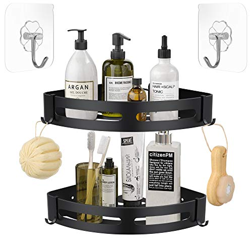 Corner Shower Caddy,2 Tiers Shower Shelf + 4 Removable Hooks,Space Aluminum,20lbs Max Bearing Weight,No Drill Bathroom Shelf Kitchen Organizer Storage Basket + 2 Adhesive Hooks